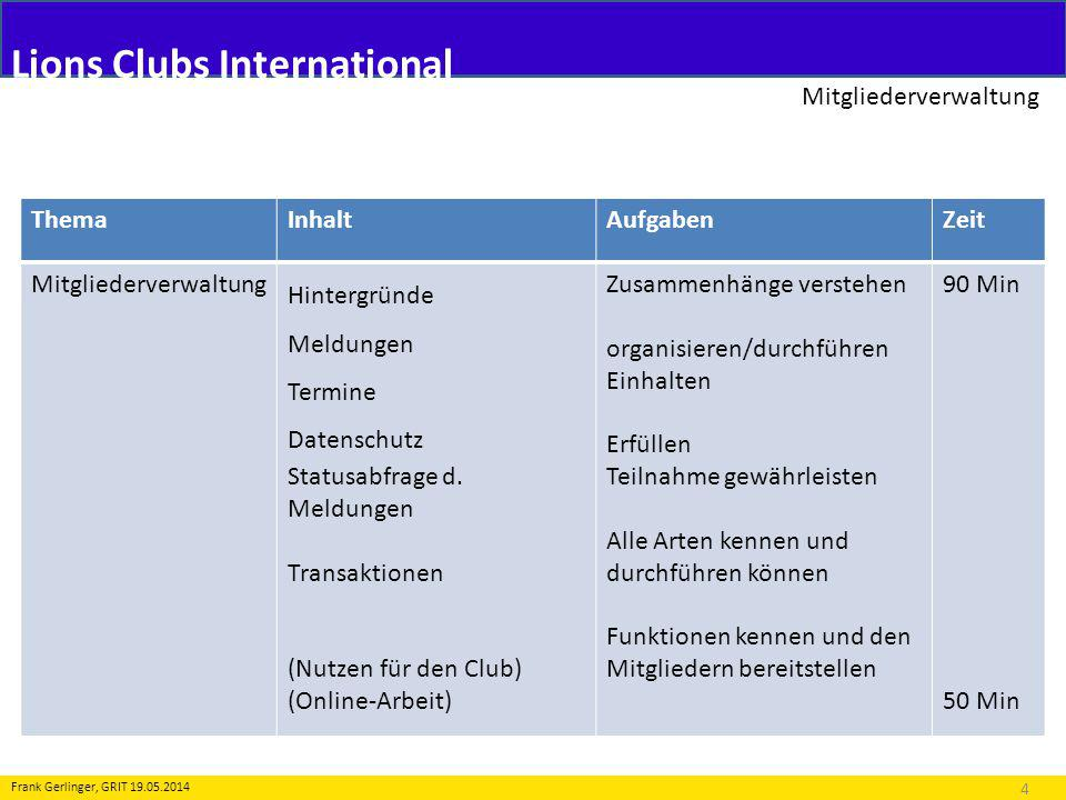 Lions Clubs International Mitgliederverwaltung 4 Frank Gerlinger, GRIT 19.05.2014 ThemaInhaltAufgabenZeit Mitgliederverwaltung Hintergründe Meldungen
