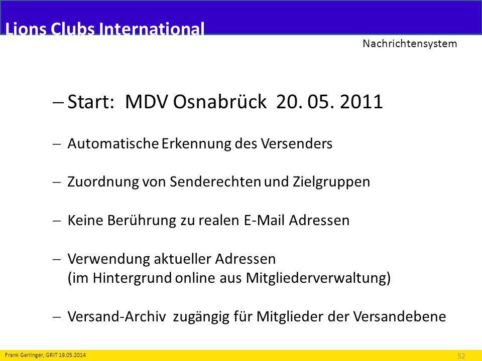 Lions Clubs International Nachrichtensystem 52 Frank Gerlinger, GRIT 19.05.2014 Start: MDV Osnabrück 20.