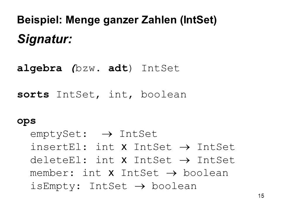 15 Beispiel: Menge ganzer Zahlen (IntSet) Signatur: algebra (bzw. adt) IntSet sorts IntSet, int, boolean ops emptySet: IntSet insertEl: int x IntSet I