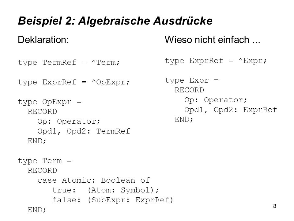 8 Beispiel 2: Algebraische Ausdrücke Deklaration: type TermRef = ^Term; type ExprRef = ^OpExpr; type OpExpr = RECORD Op: Operator; Opd1, Opd2: TermRef