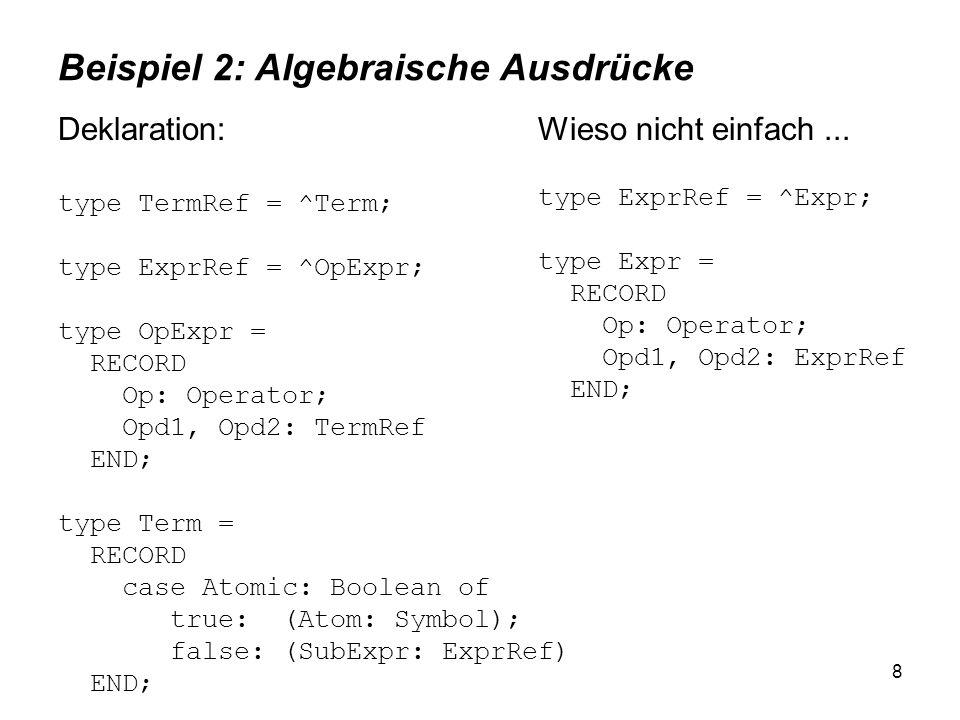 8 Beispiel 2: Algebraische Ausdrücke Deklaration: type TermRef = ^Term; type ExprRef = ^OpExpr; type OpExpr = RECORD Op: Operator; Opd1, Opd2: TermRef END; type Term = RECORD case Atomic: Boolean of true: (Atom: Symbol); false: (SubExpr: ExprRef) END; Wieso nicht einfach...