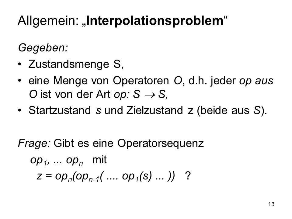 13 Allgemein: Interpolationsproblem Gegeben: Zustandsmenge S, eine Menge von Operatoren O, d.h. jeder op aus O ist von der Art op: S S, Startzustand s