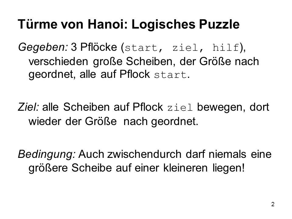 2 Türme von Hanoi: Logisches Puzzle Gegeben: 3 Pflöcke ( start, ziel, hilf ), verschieden große Scheiben, der Größe nach geordnet, alle auf Pflock sta
