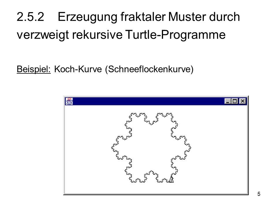 5 2.5.2 Erzeugung fraktaler Muster durch verzweigt rekursive Turtle-Programme Beispiel: Koch-Kurve (Schneeflockenkurve)