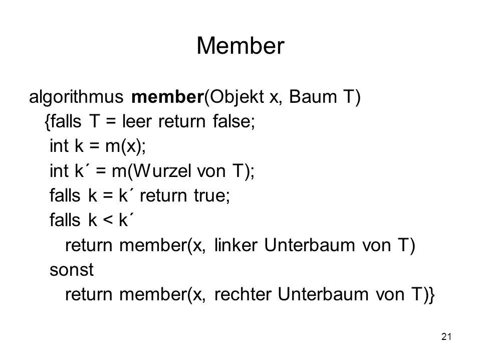 21 Member algorithmus member(Objekt x, Baum T) {falls T = leer return false; int k = m(x); int k´ = m(Wurzel von T); falls k = k´ return true; falls k