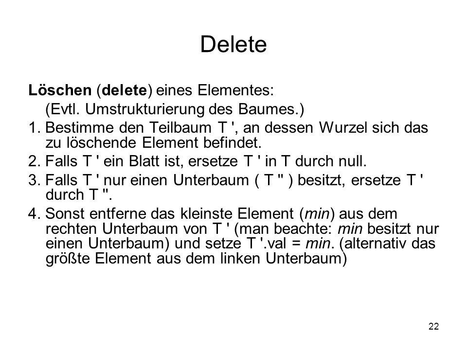 22 Delete Löschen (delete) eines Elementes: (Evtl. Umstrukturierung des Baumes.) 1. Bestimme den Teilbaum T ', an dessen Wurzel sich das zu löschende