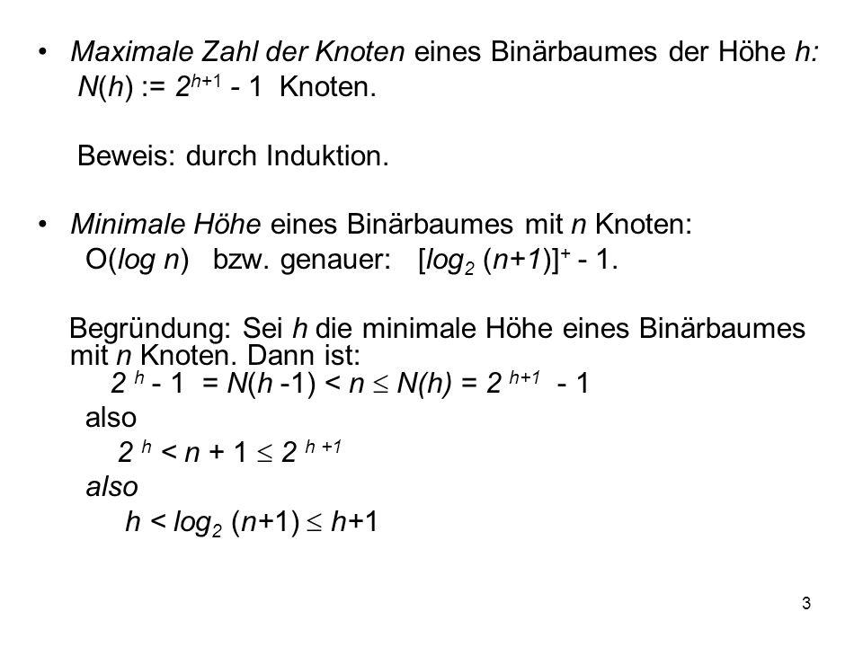 3 Maximale Zahl der Knoten eines Binärbaumes der Höhe h: N(h) := 2 h+1 - 1 Knoten. Beweis: durch Induktion. Minimale Höhe eines Binärbaumes mit n Knot