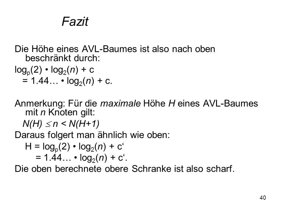 40 Die Höhe eines AVL-Baumes ist also nach oben beschränkt durch: log p (2) log 2 (n) + c = 1.44… log 2 (n) + c. Anmerkung: Für die maximale Höhe H ei