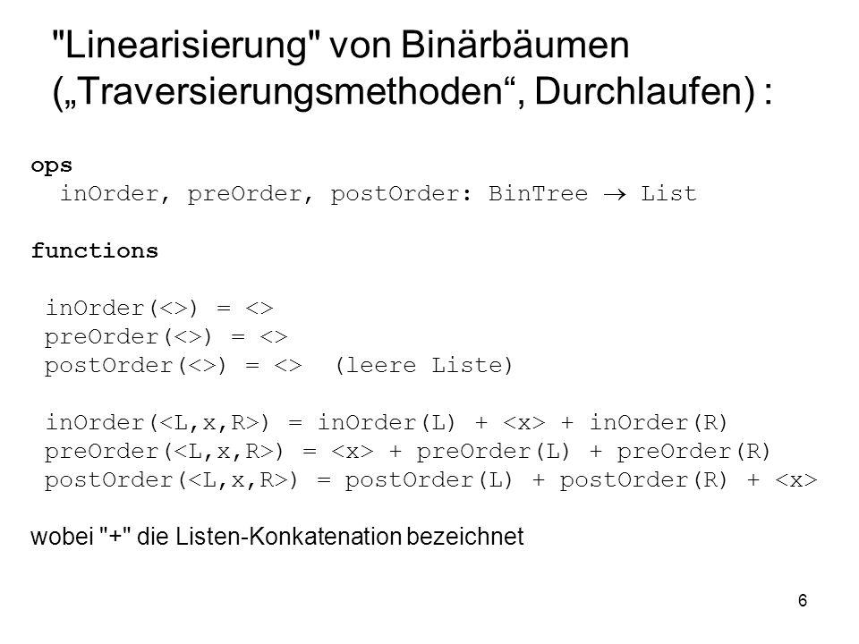 7 Beispiel: Binärbaum zum Ausdruck ((12/4)*2) inOrder: 12, /, 4, *, 2 preOrder: *, /, 12, 4, 2 postOrder: 12, 4, /, 2, *