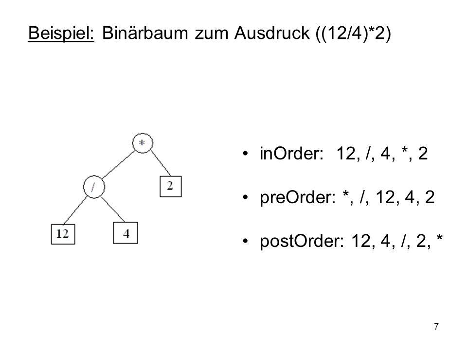 8 Implementierung in Java public class BinTree { private Object val; private BinTree right; private BinTree left; // Konstruktoren: BinTree(Object x) { val = x; left = right = null; } BinTree(Object x) { val = x; left = right = null; } BinTree(Object x, BinTree LTree, BinTree RTree) { val = x; left = LTree; right = RTree; }