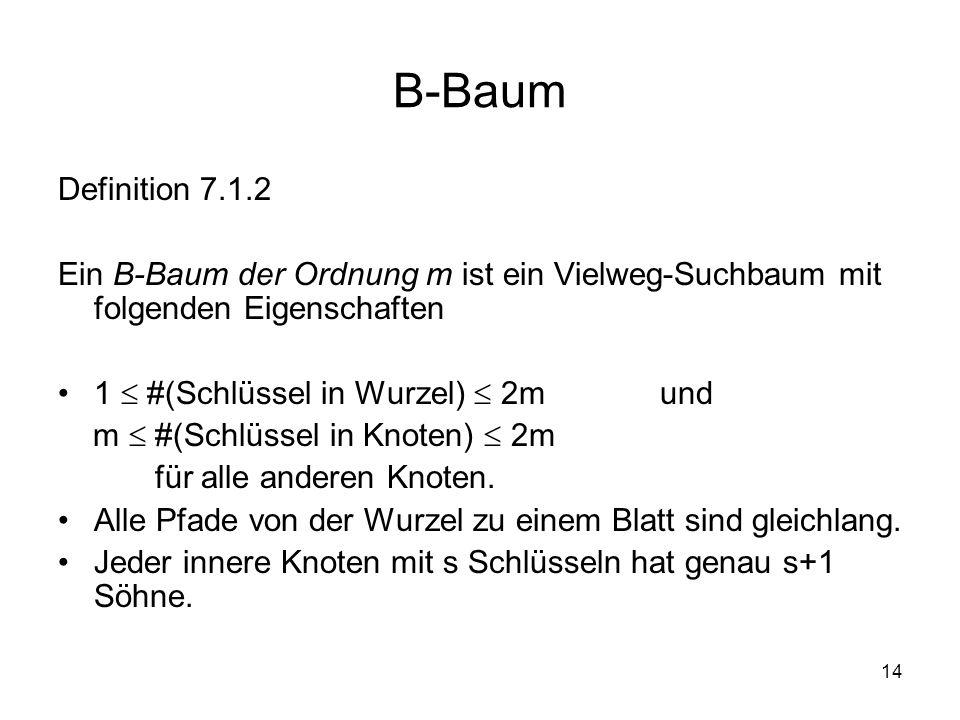 14 B-Baum Definition 7.1.2 Ein B-Baum der Ordnung m ist ein Vielweg-Suchbaum mit folgenden Eigenschaften 1 #(Schlüssel in Wurzel) 2m und m #(Schlüssel in Knoten) 2m für alle anderen Knoten.