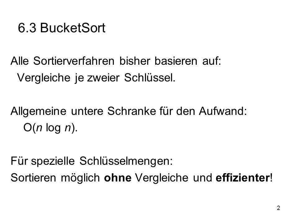 2 6.3 BucketSort Alle Sortierverfahren bisher basieren auf: Vergleiche je zweier Schlüssel.