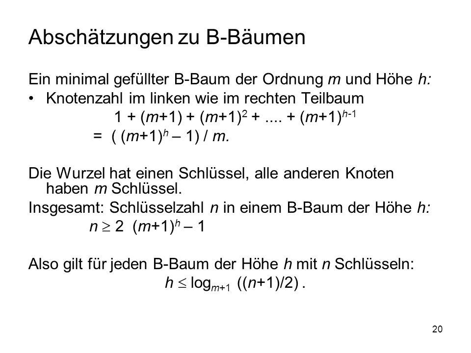 20 Abschätzungen zu B-Bäumen Ein minimal gefüllter B-Baum der Ordnung m und Höhe h: Knotenzahl im linken wie im rechten Teilbaum 1 + (m+1) + (m+1) 2 +....