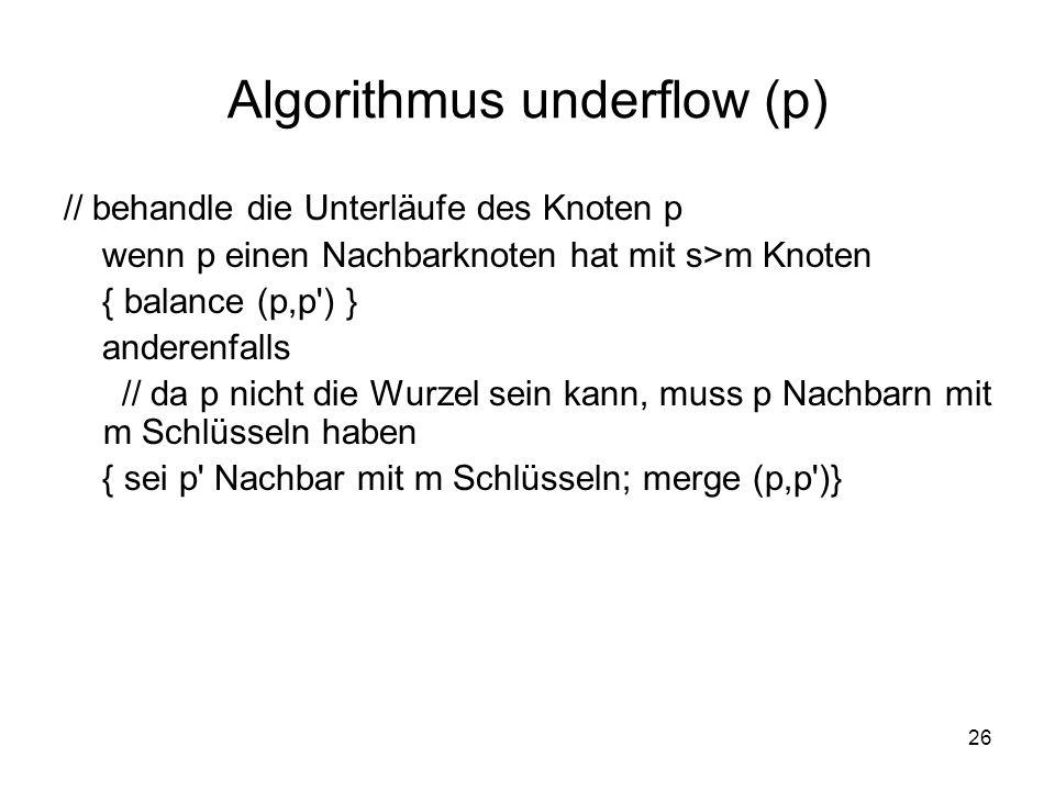 26 Algorithmus underflow (p) // behandle die Unterläufe des Knoten p wenn p einen Nachbarknoten hat mit s>m Knoten { balance (p,p ) } anderenfalls // da p nicht die Wurzel sein kann, muss p Nachbarn mit m Schlüsseln haben { sei p Nachbar mit m Schlüsseln; merge (p,p )}