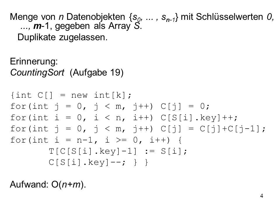 4 Menge von n Datenobjekten {s 0,..., s n-1 } mit Schlüsselwerten 0,..., m-1, gegeben als Array S.