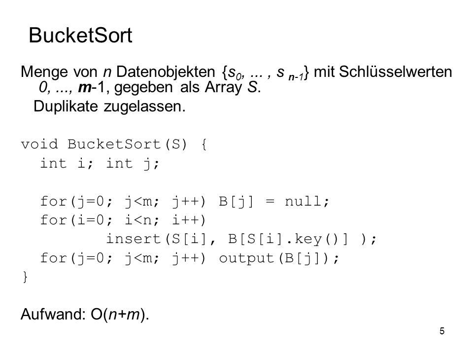5 BucketSort Menge von n Datenobjekten {s 0,..., s n-1 } mit Schlüsselwerten 0,..., m-1, gegeben als Array S.