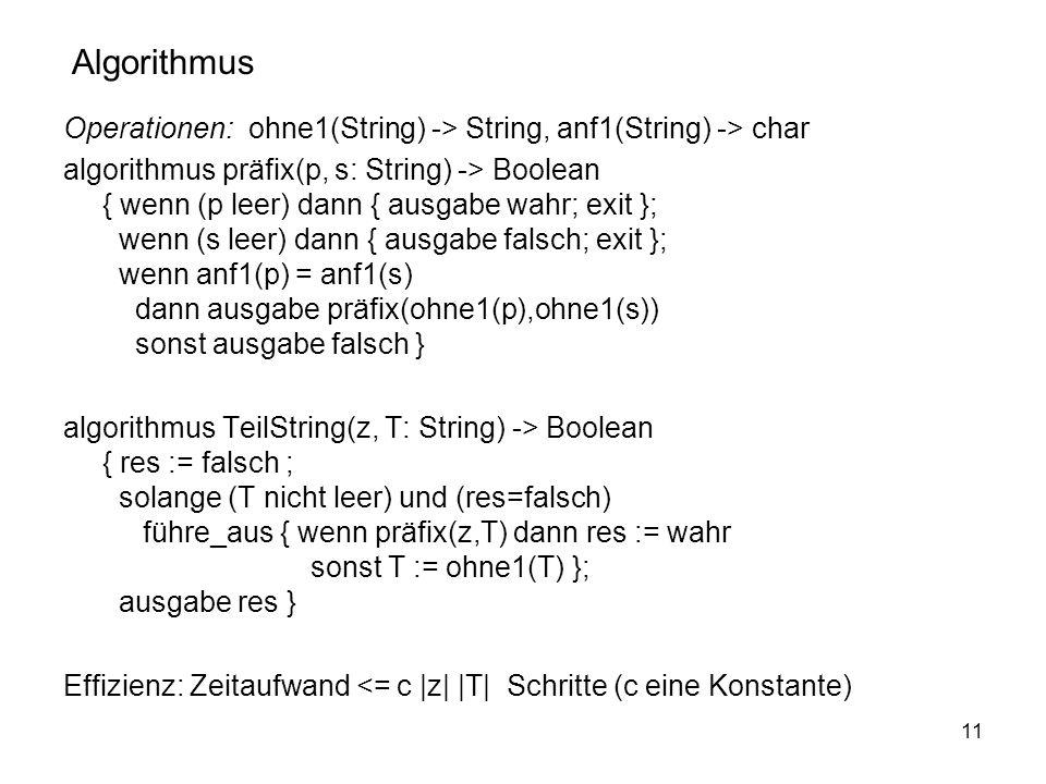 11 Operationen: ohne1(String) -> String, anf1(String) -> char algorithmus präfix(p, s: String) -> Boolean { wenn (p leer) dann { ausgabe wahr; exit };
