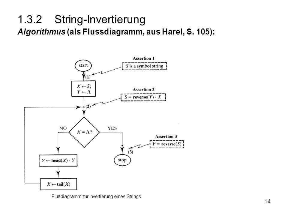 14 1.3.2 String-Invertierung Algorithmus (als Flussdiagramm, aus Harel, S. 105):