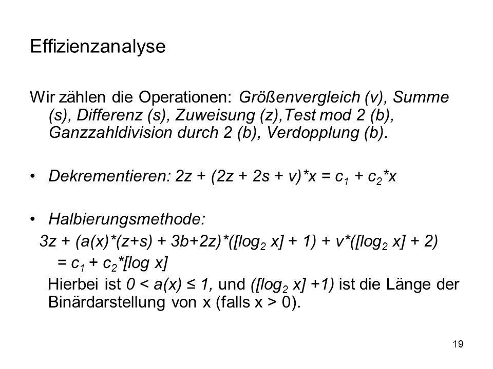 19 Effizienzanalyse Wir zählen die Operationen: Größenvergleich (v), Summe (s), Differenz (s), Zuweisung (z),Test mod 2 (b), Ganzzahldivision durch 2