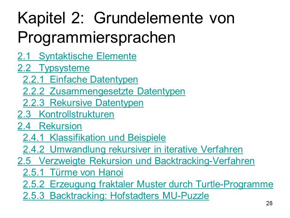 26 Kapitel 2: Grundelemente von Programmiersprachen 2.1 Syntaktische Elemente 2.2 Typsysteme 2.2.1 Einfache Datentypen 2.2.2 Zusammengesetzte Datentyp