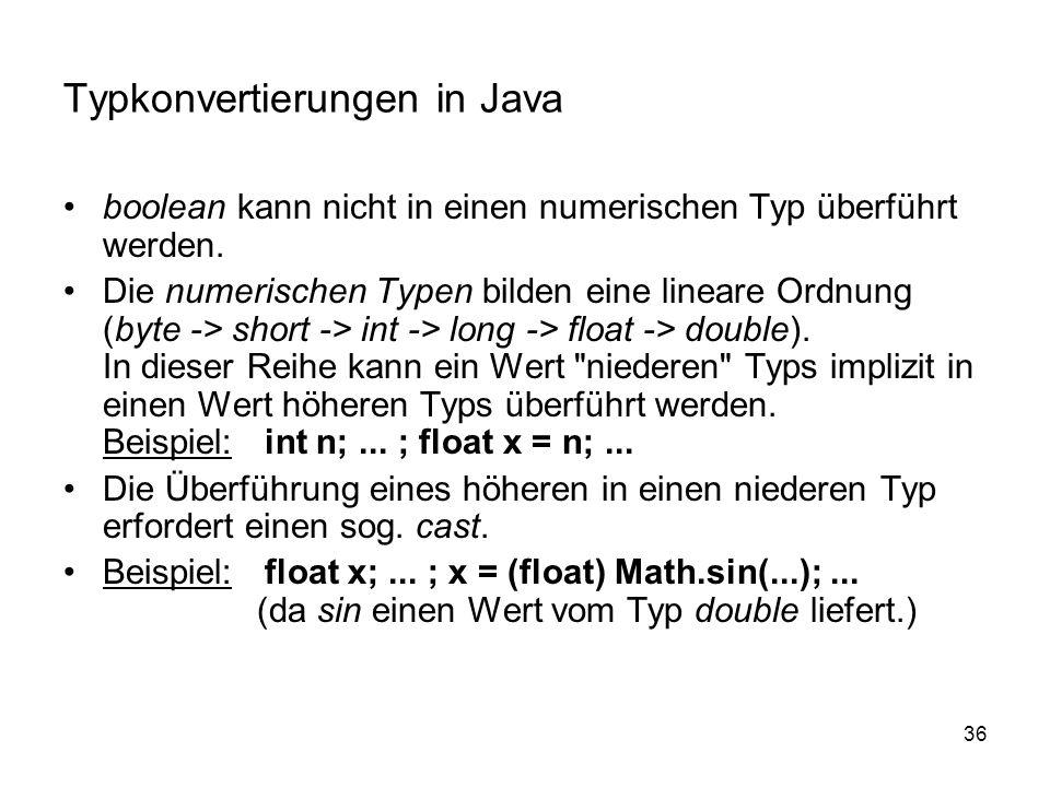 36 Typkonvertierungen in Java boolean kann nicht in einen numerischen Typ überführt werden. Die numerischen Typen bilden eine lineare Ordnung (byte ->