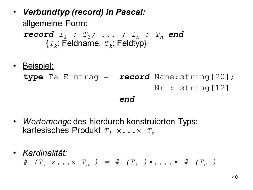 40 Verbundtyp (record) in Pascal: allgemeine Form: record I 1 : T 1 ;... ; I n : T n end { I k : Feldname, T k : Feldtyp} Beispiel: type TelEintrag =