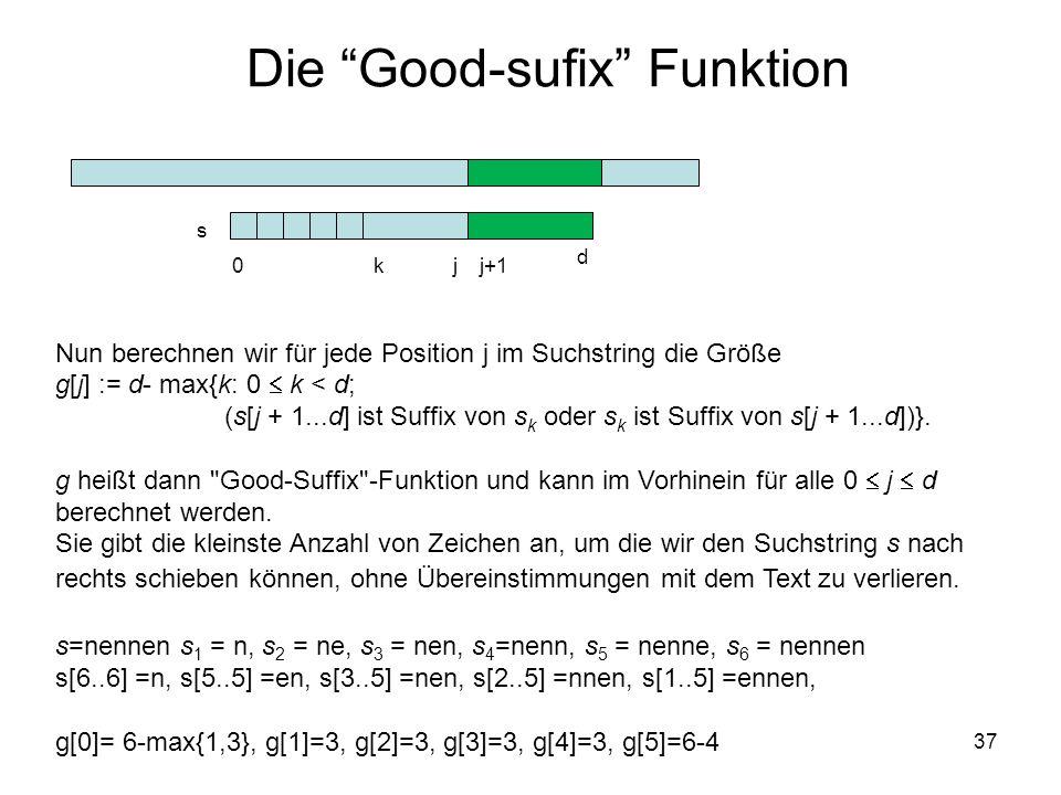 Die Good-sufix Funktion 37 Nun berechnen wir für jede Position j im Suchstring die Größe g[j] := d- max{k: 0 k < d; (s[j + 1...d] ist Suffix von s k oder s k ist Suffix von s[j + 1...d])}.