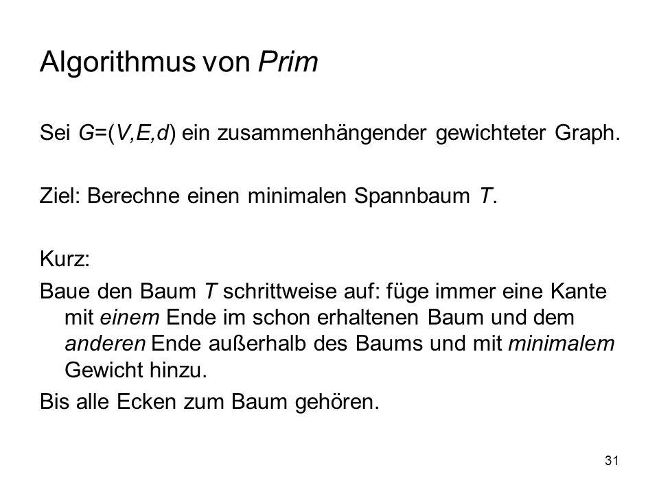 31 Algorithmus von Prim Sei G=(V,E,d) ein zusammenhängender gewichteter Graph.