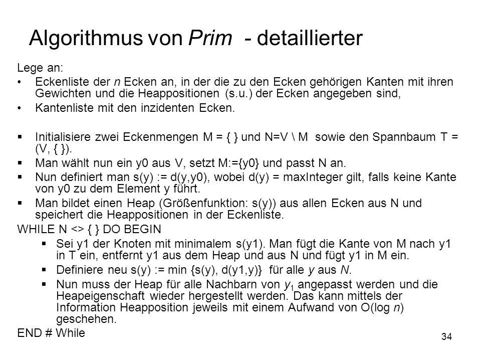 34 Algorithmus von Prim - detaillierter Lege an: Eckenliste der n Ecken an, in der die zu den Ecken gehörigen Kanten mit ihren Gewichten und die Heappositionen (s.u.) der Ecken angegeben sind, Kantenliste mit den inzidenten Ecken.
