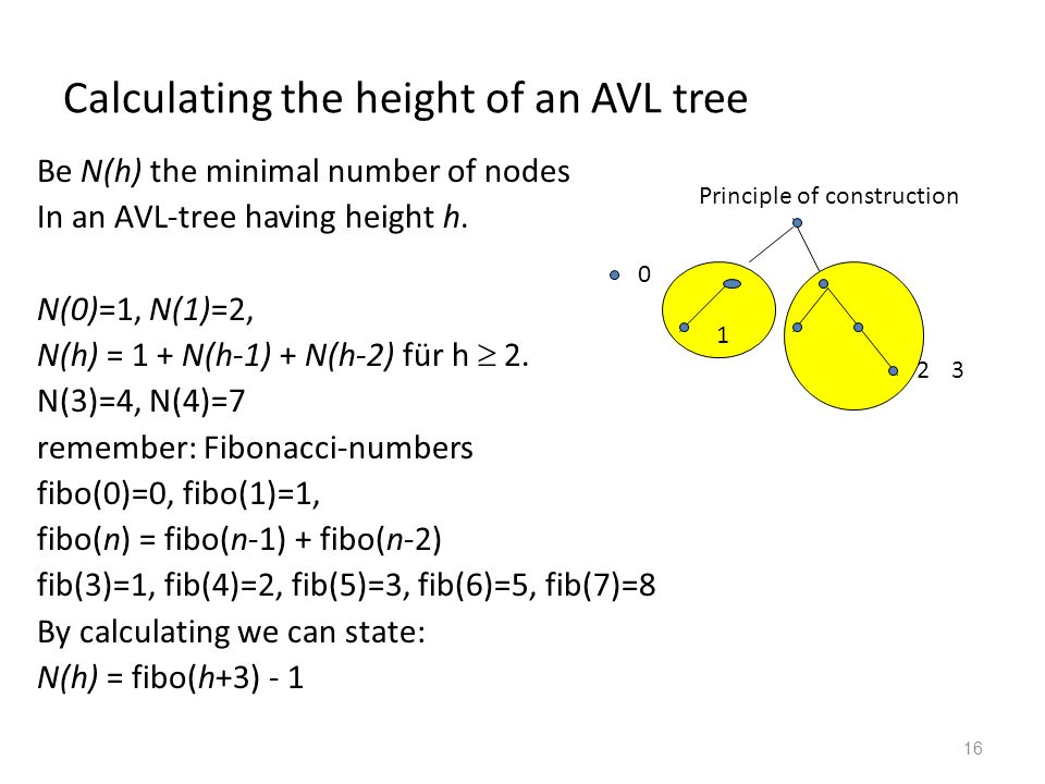 16 Calculating the height of an AVL tree Be N(h) the minimal number of nodes In an AVL-tree having height h. N(0)=1, N(1)=2, N(h) = 1 + N(h-1) + N(h-2