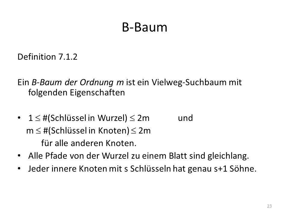 23 B-Baum Definition 7.1.2 Ein B-Baum der Ordnung m ist ein Vielweg-Suchbaum mit folgenden Eigenschaften 1 #(Schlüssel in Wurzel) 2m und m #(Schlüssel in Knoten) 2m für alle anderen Knoten.