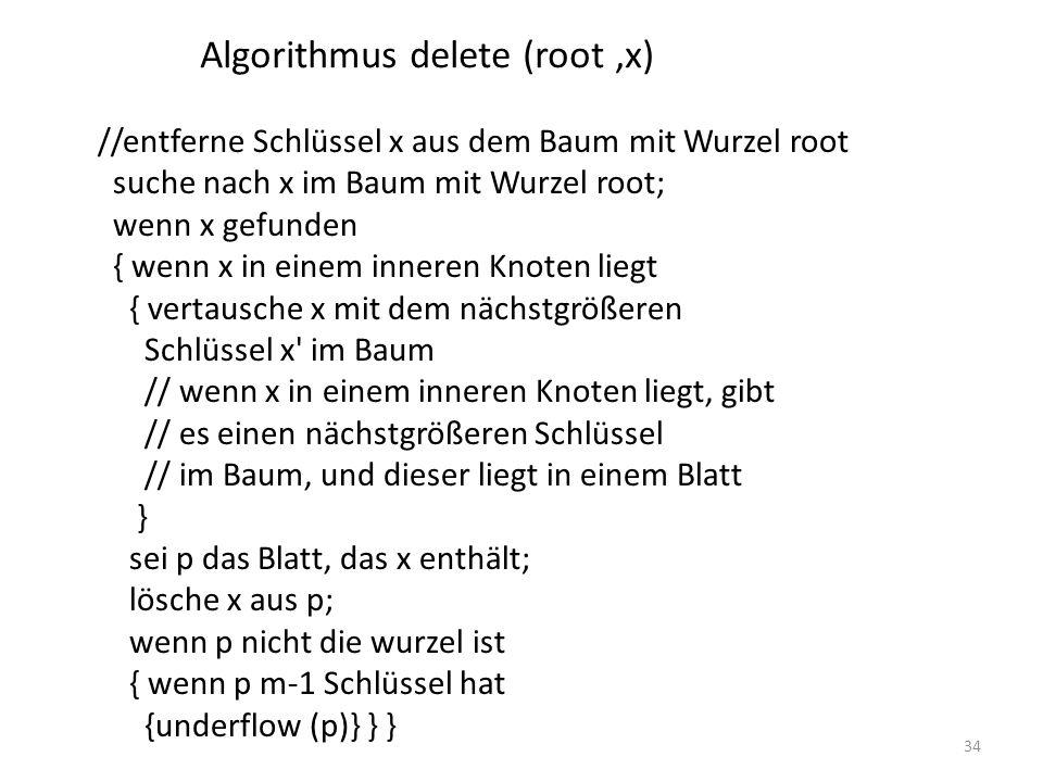 34 //entferne Schlüssel x aus dem Baum mit Wurzel root suche nach x im Baum mit Wurzel root; wenn x gefunden { wenn x in einem inneren Knoten liegt { vertausche x mit dem nächstgrößeren Schlüssel x im Baum // wenn x in einem inneren Knoten liegt, gibt // es einen nächstgrößeren Schlüssel // im Baum, und dieser liegt in einem Blatt } sei p das Blatt, das x enthält; lösche x aus p; wenn p nicht die wurzel ist { wenn p m-1 Schlüssel hat {underflow (p)} } } Algorithmus delete (root,x)