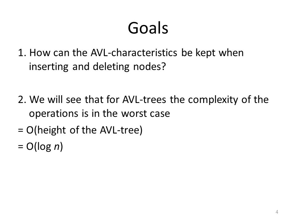 5 Preservation of the AVL-characteristics After inserting and deleting nodes from a tree we must procure that new tree preserves the characteristics of an AVL-tree: Re-balancing.
