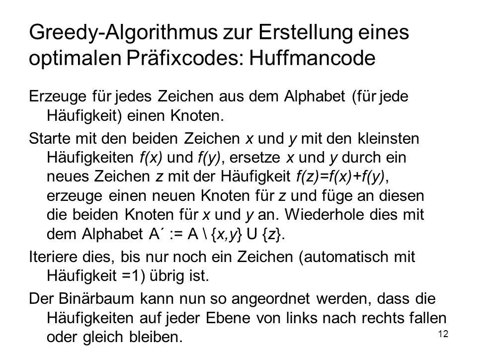 13 Konstruktion eines optimalen Präfixcodes zu: AlphabetHäufigkeit a10.5 a20.2 a30.1 a40.1 a50.06 a60.04