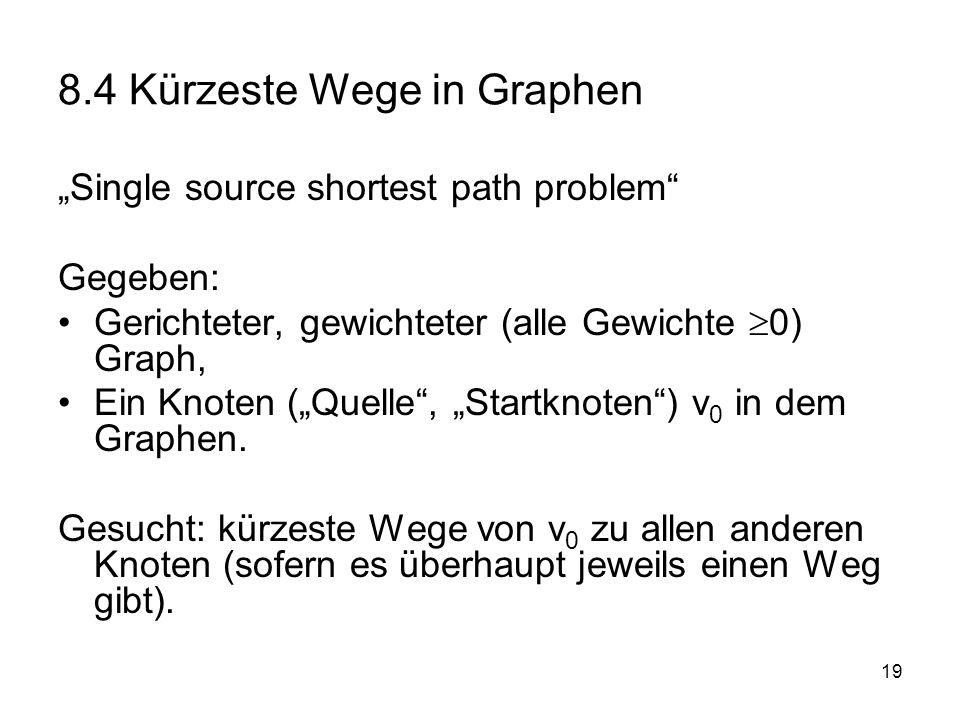 20 Dijkstra-Algorithmus Algorithmus Dijkstra (v 0,G) // vereinfacht: berechnet Länge der kürzesten Wege in G von v 0 aus für alle u { dist(u) := maxint }; gruen :=leer; gelb:= {v 0 }; dist(v 0 ):=0; While gelb != leer do { wähle w aus gelb, so dass dist(w) minimal; färbe w grün; für jedes u aus succ(w) do { falls u aus V\(gruen oder gelb) { färbe u gelb; dist(u):= dist(w)+ cost(w,u);} falls u aus gelb { wenn dist (u) > dist(w)+cost(w,u) dann dist(u):=dist(w)+cost(w,u) } } } end;
