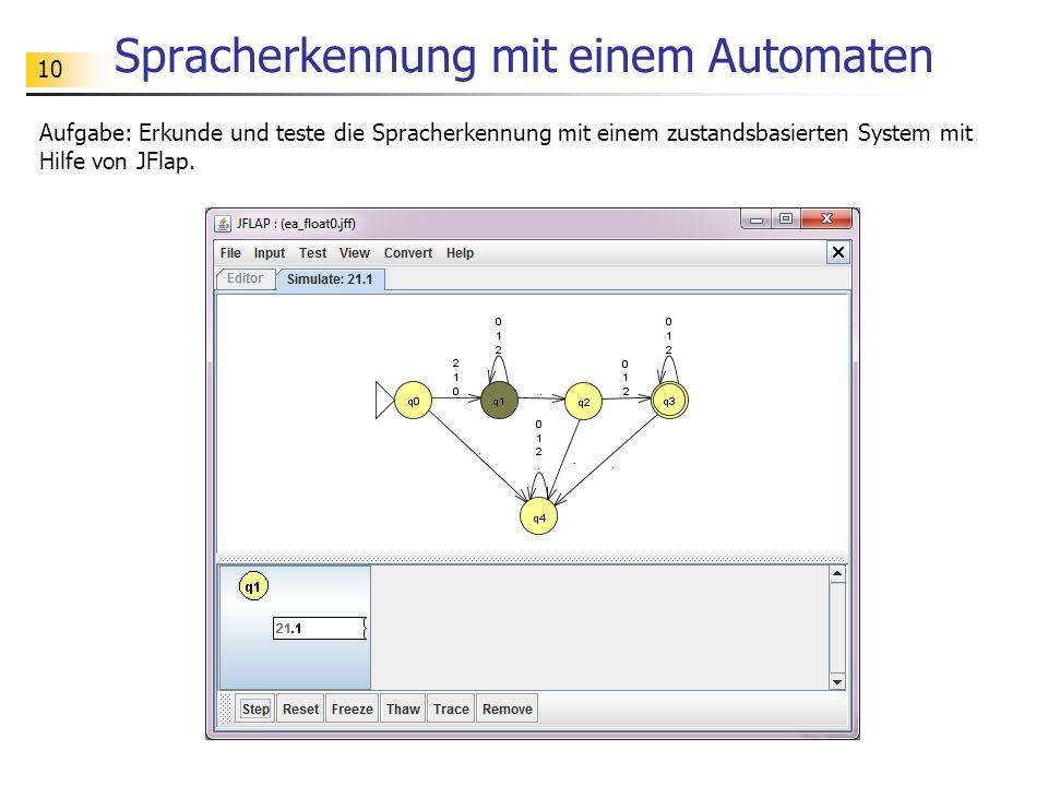 10 Spracherkennung mit einem Automaten Aufgabe: Erkunde und teste die Spracherkennung mit einem zustandsbasierten System mit Hilfe von JFlap.