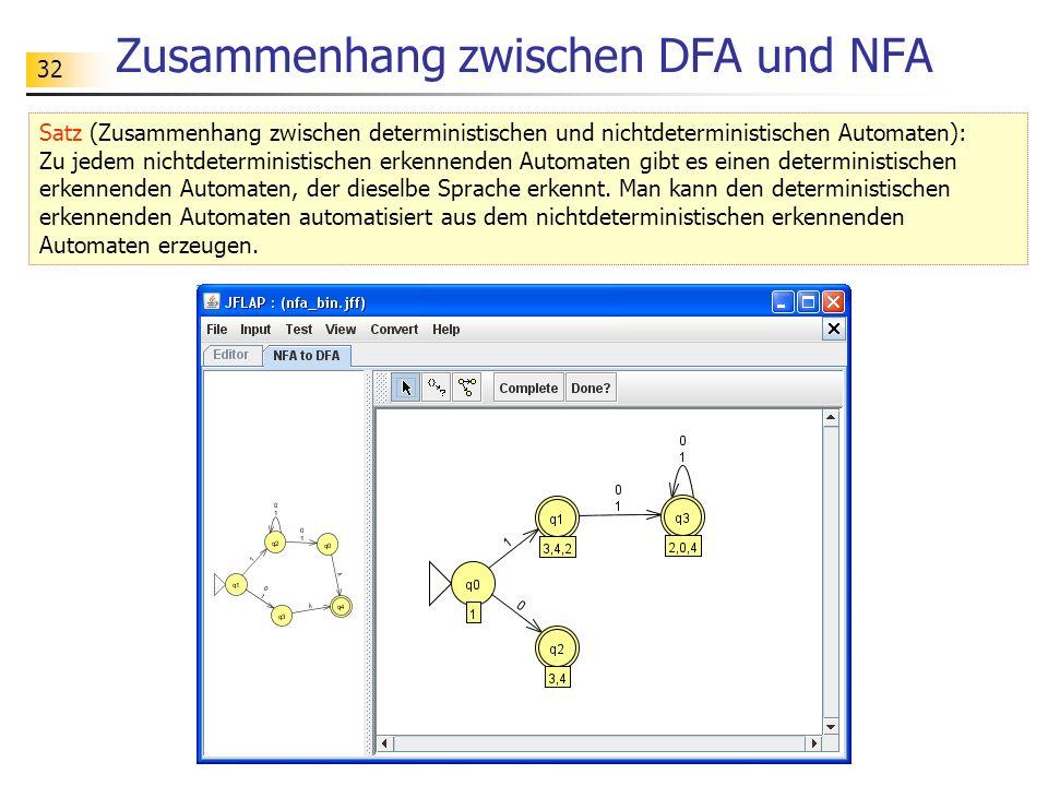 32 Zusammenhang zwischen DFA und NFA Satz (Zusammenhang zwischen deterministischen und nichtdeterministischen Automaten): Zu jedem nichtdeterministisc