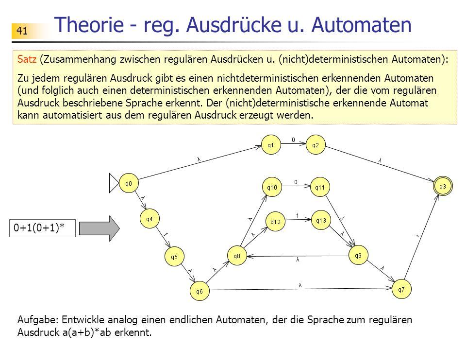 41 Theorie - reg. Ausdrücke u. Automaten Satz (Zusammenhang zwischen regulären Ausdrücken u. (nicht)deterministischen Automaten): Zu jedem regulären A