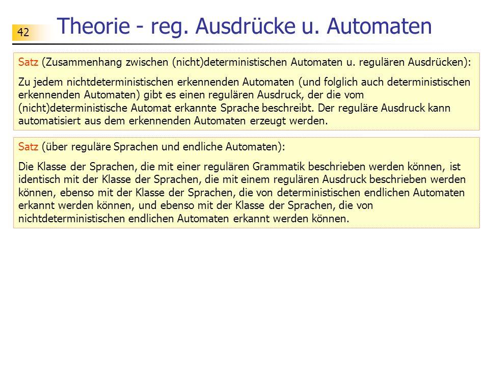 42 Theorie - reg. Ausdrücke u. Automaten Satz (Zusammenhang zwischen (nicht)deterministischen Automaten u. regulären Ausdrücken): Zu jedem nichtdeterm