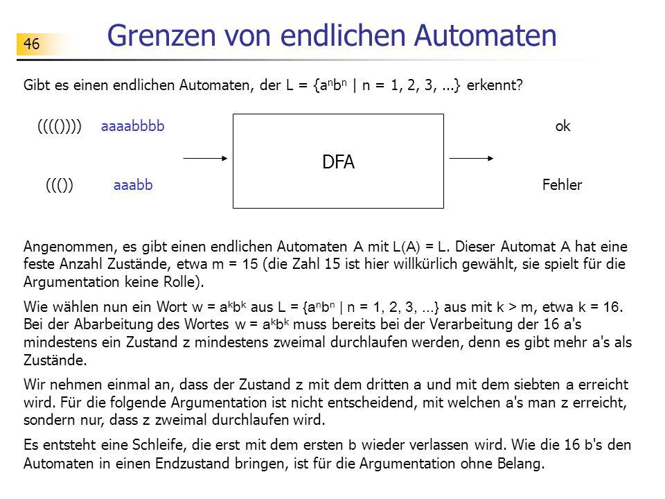 46 Grenzen von endlichen Automaten Gibt es einen endlichen Automaten, der L = {a n b n   n = 1, 2, 3,...} erkennt? DFA ok(((()))) Fehler((()) Angenomm