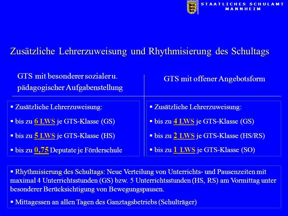 Zusätzliche Lehrerzuweisung und Rhythmisierung des Schultags GTS mit besonderer sozialer u.