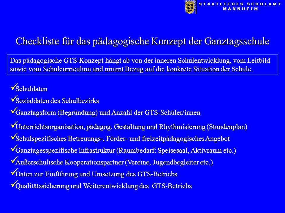 Checkliste für das pädagogische Konzept der Ganztagsschule Schuldaten Das pädagogische GTS-Konzept hängt ab von der inneren Schulentwicklung, vom Leitbild sowie vom Schulcurriculum und nimmt Bezug auf die konkrete Situation der Schule.