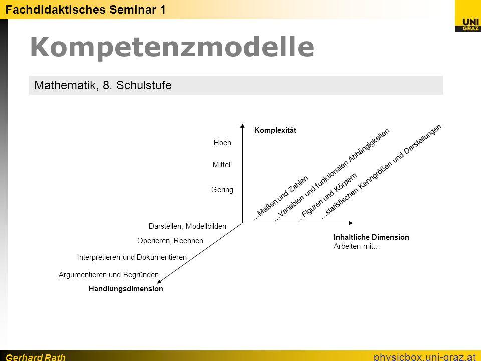 Gerhard Rath Fachdidaktisches Seminar 1 physicbox.uni-graz.at Kompetenzmodelle …statistischen Kenngrößen und Darstellungen Handlungsdimension Inhaltli