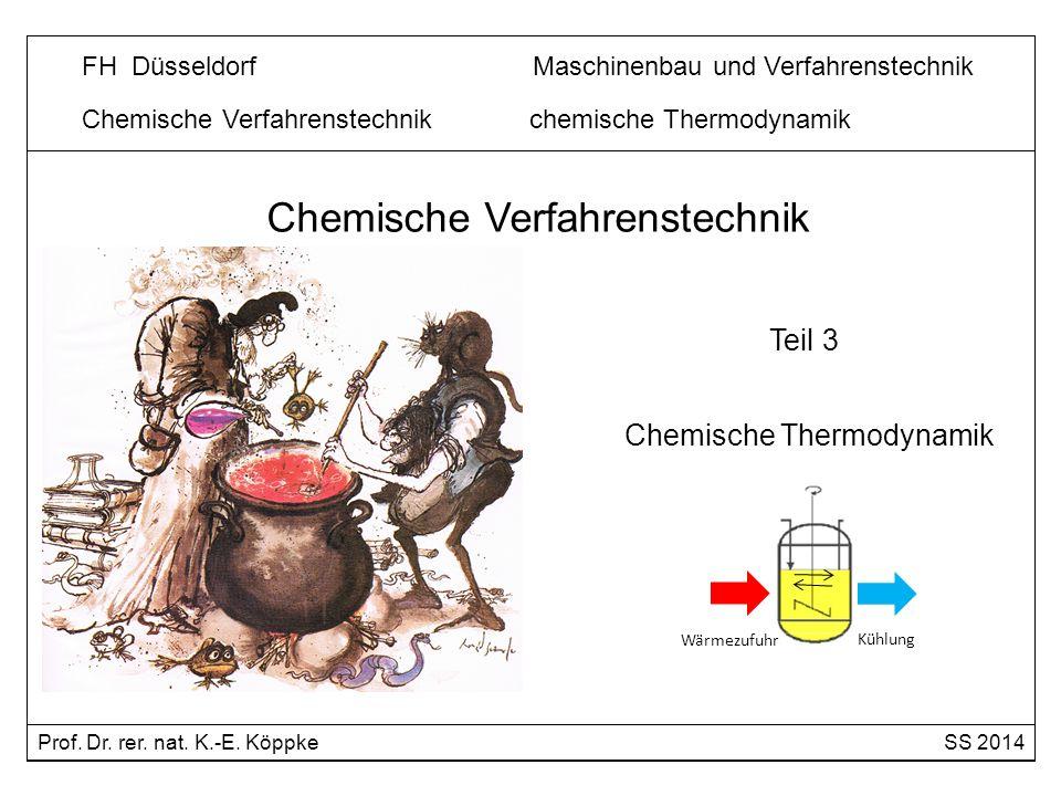 Chemische Verfahrenstechnik chemische Thermodynamik Die chemische Thermodynamik liefert folgende Informationen: 1.Berechnung der Reaktionsenthalpien (Welche Wärmemenge muss zu- oder abgeführt werden?) - Berechnung aus Bildungsenthalpien auf der Grundlage von Tabellenwerken - Berechnung aus bekannten Reaktionen (Hess´scher Satz) 2.Berechnung chemischer Gleichgewichte (Betrachtung von reversiblen Reaktionen) 3.Aussage über die Richtung des Ablaufs chemischer Reaktionen Die Thermodynamik ist die Lehre von den Energieänderungen im Verlaufe von physikalischen und chemischen Vorgängen.