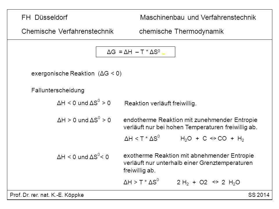 exergonische Reaktion (ΔG < 0) ΔH 0 Reaktion verläuft freiwillig. ΔH > 0 und ΔS 0 > 0 endotherme Reaktion mit zunehmender Entropie verläuft nur bei ho