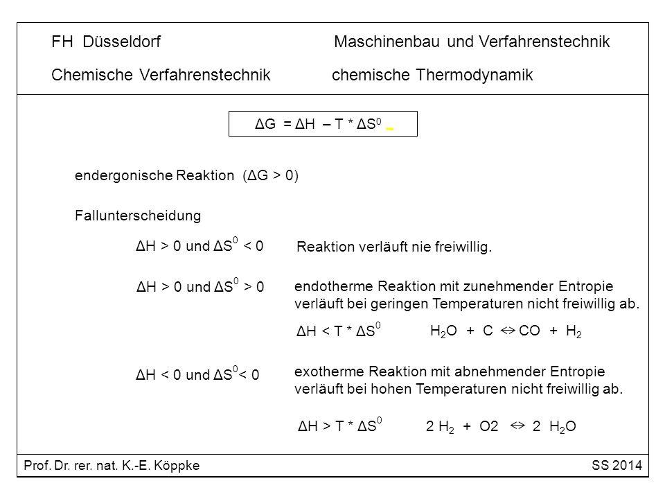 endergonische Reaktion (ΔG > 0) ΔH > 0 und ΔS 0 < 0 Reaktion verläuft nie freiwillig. ΔH > 0 und ΔS 0 > 0 endotherme Reaktion mit zunehmender Entropie
