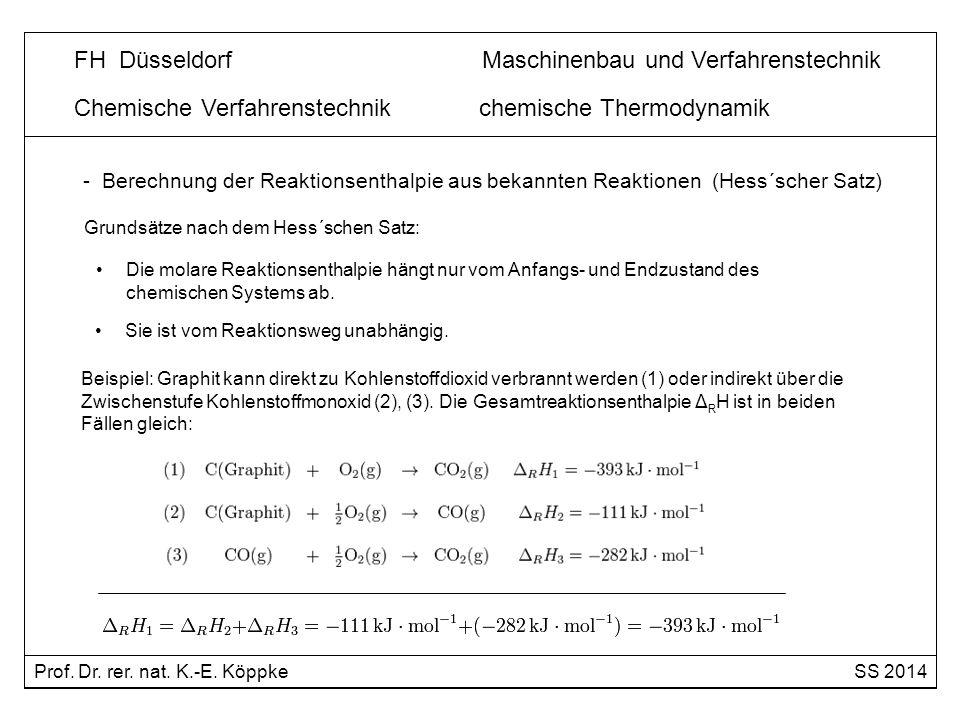 Chemische Verfahrenstechnik chemische Thermodynamik - Berechnung der Reaktionsenthalpie aus bekannten Reaktionen (Hess´scher Satz) Die molare Reaktion
