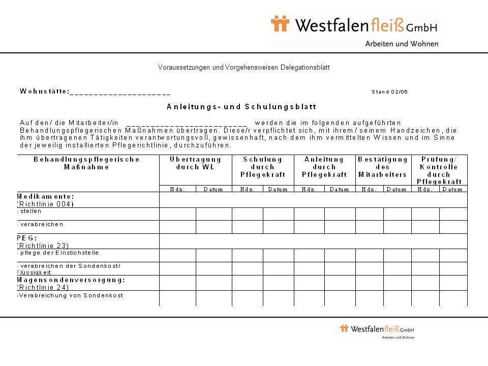 Voraussetzungen und Vorgehensweisen Delegationsblatt