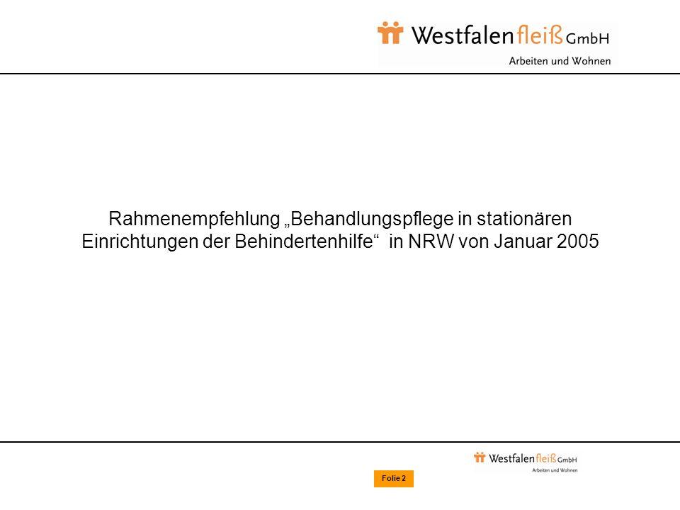 Folie 2 Rahmenempfehlung Behandlungspflege in stationären Einrichtungen der Behindertenhilfe in NRW von Januar 2005