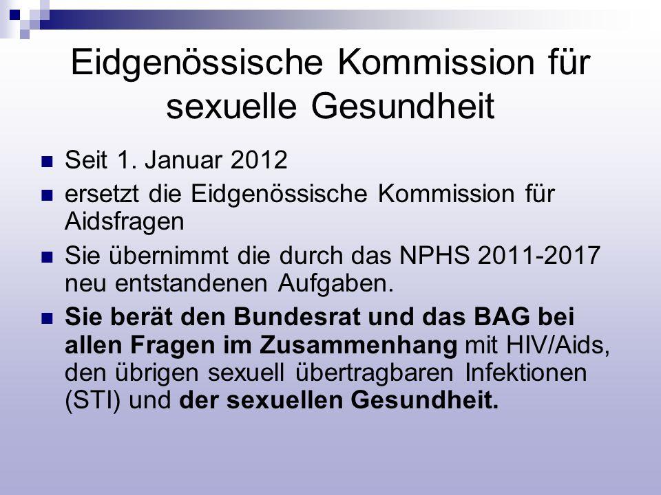 Eidgenössische Kommission für sexuelle Gesundheit Seit 1. Januar 2012 ersetzt die Eidgenössische Kommission für Aidsfragen Sie übernimmt die durch das